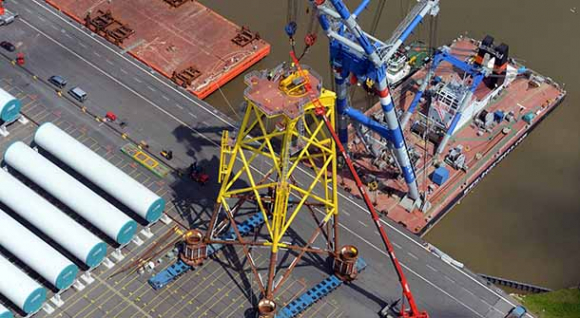 Shipment of jacket foundations, Nordsee Ost offshore wind farm